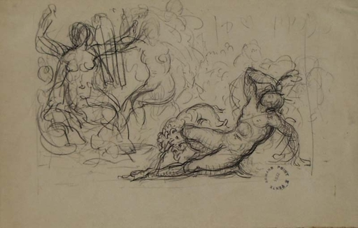 "Armand POINT - Disegno Acquarello - ""Composition Sketch"" by Armand Point, early 20th century"