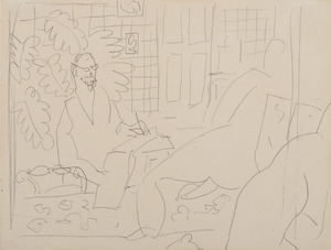 Henri MATISSE - Drawing-Watercolor - Le peintre et son modèle
