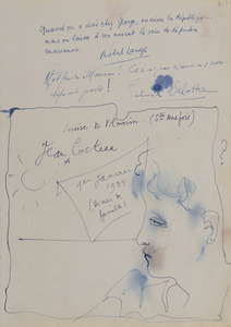 Jean COCTEAU - Drawing-Watercolor - Portrait d'homme de profil