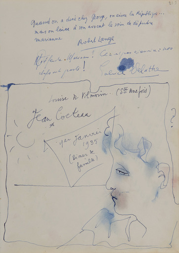 Jean COCTEAU - Dessin-Aquarelle - Portrait d'homme de profil