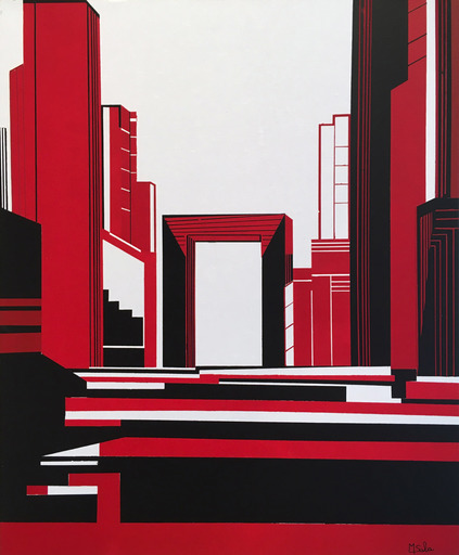 Michèle SALA - Painting - L'arche (Rouge)