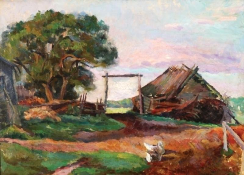 Alexander Alexandrov OSMERKIN - Pintura - The Farm, 1925