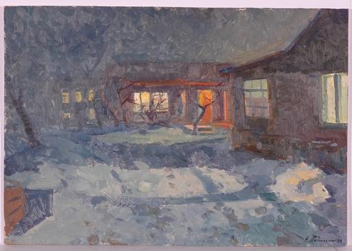 """Andrei Ilech POTAPENKO - Pittura - """"Winter Night"""", Oil Painting, 1962"""