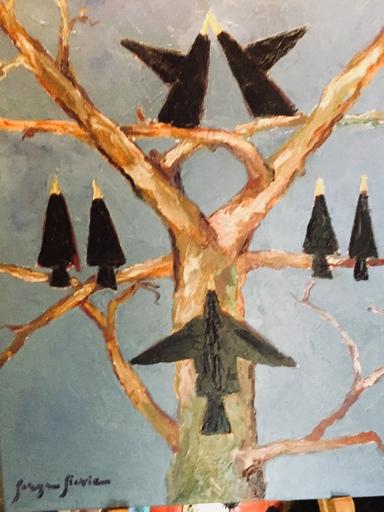 Serge SIEVIC - Peinture - Les merles