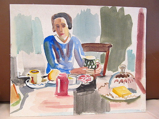 Erich HARTMANN - Dessin-Aquarelle - Frau am Tisch