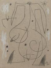 Joan MIRO - Zeichnung Aquarell - Femme, oiseau, étoile,constellation