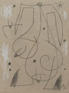 Joan MIRO - Drawing-Watercolor - Femme, oiseau, étoile,constellation