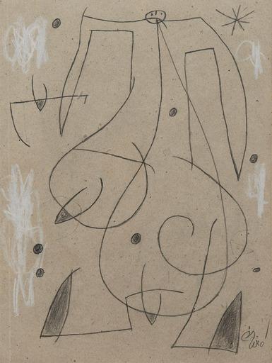 Joan MIRO - Dessin-Aquarelle - Femme, oiseau, étoile,constellation