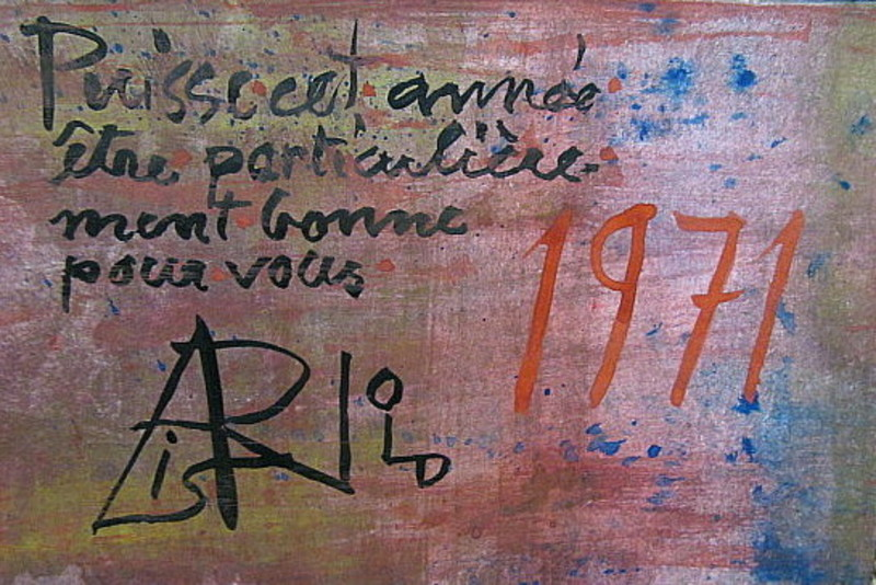 Arnold FIEDLER - Dibujo Acuarela - Neujahrsgruß 1971 - in französisch.