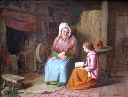 James II HARDY - Painting - Reading to Grandma