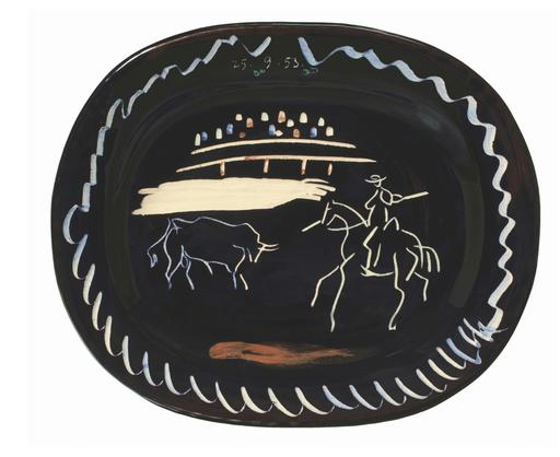 Pablo PICASSO - Ceramic - Corrida sur fond noir