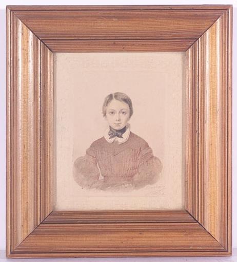 """Etienne BOUCHARDY - Dibujo Acuarela - """"Portrait of a Girl"""", 1841, Watercolor"""