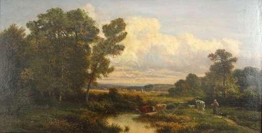 Nicolas RENIE - Painting - Landschaft mit Hirtin und ihrer Kuhherde am Tränken