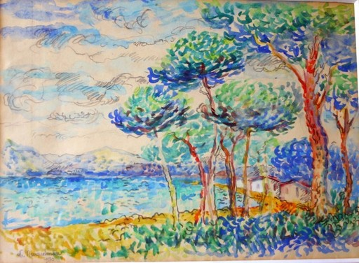 Lucien NEUQUELMAN - Drawing-Watercolor -  Saint-Tropez