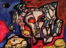 Ernst Iosipovitch NEIZVESTNY - Dibujo Acuarela - Man with Skull