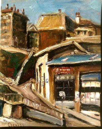 Takanori OGUISS - Pintura - La rue Bemont à Genève café des trois-perdrix