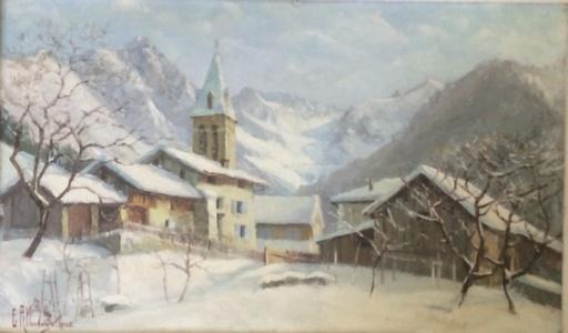 "Étienne ALBRIEUX - Pintura - Hiver a"" PINSOL""Glacier des Gleyzins"