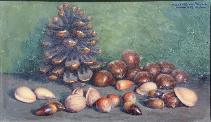 """Arturo MARTINEZ CABEZAS - Painting - """"NATURE MORTE AUX CHÂTAIGNES"""""""