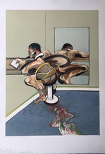 Francis BACON - Grabado - Figure writing reflected in a Mirror