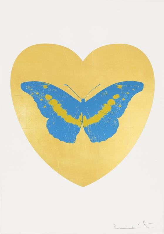 Damien HIRST - Print-Multiple - I Love You - Gold Leaf/Turquoise/Oriental Gold