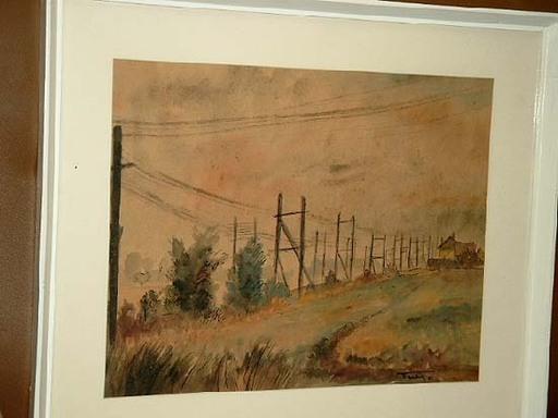 Ehrich TURLACH - Disegno Acquarello - Wiese mit Stromleitungen
