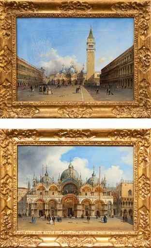 Carlo GRUBACS - Gemälde - Pair of views with Piazza San Marco
