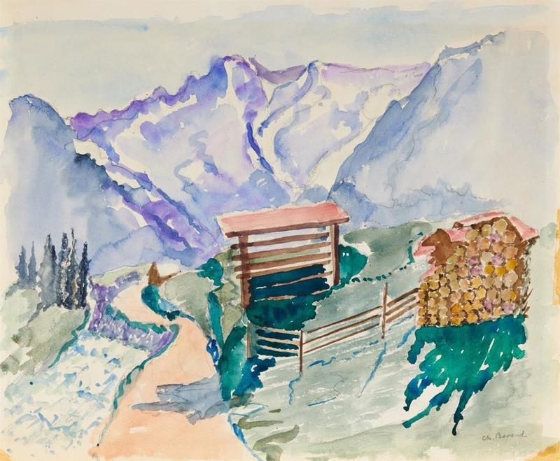 Charlotte BEREND-CORINTH - Drawing-Watercolor - Landscape in the Mountains