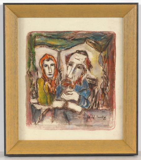 """Boris DEUTSCH - Dessin-Aquarelle - Boris Deutsch (1892-1978) """"Jewish couple I"""""""