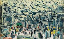 André COTTAVOZ - Painting - Place de Paris, L`hiver