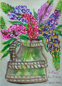 Jean-Pierre CHEVASSUS-AGNES - Dessin-Aquarelle - bouquet de fleurs de LUPIN dans un vase