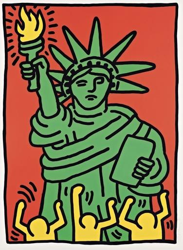 凯特•哈林 - 版画 - Statue of Liberty