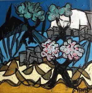 Claude VENARD - Pintura - Oliviers et amandiers en fleurs