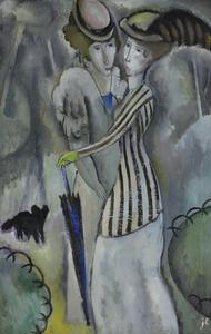 Jean LURÇAT - Painting - Promenade au Parc