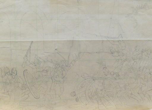 Ferdinand HODLER - Drawing-Watercolor - Entwurfsskizze zu einer Gefechtsszene