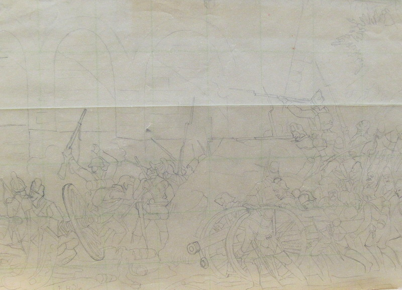 费迪南德•霍德勒 - 水彩作品 - Entwurfsskizze zu einer Gefechtsszene