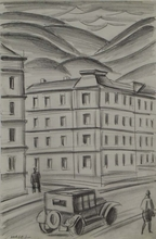 "Alfred HAGEL - Drawing-Watercolor - ""Street Scene"", Drawing"
