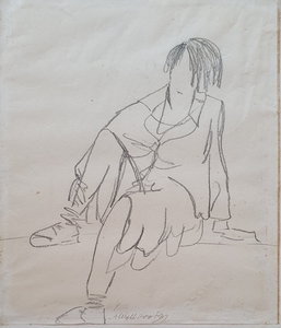 Abraham WALKOWITZ - Drawing-Watercolor - Seated Woman