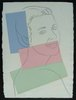 Andy WARHOL - Dibujo Acuarela - Presumed Portrait of Antoine Grunn (Female Portrait) with bl