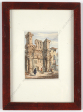 "Samuel PROUT - Drawing-Watercolor - ""Temple of Pallas/Forum of Nerva, Rome"" miniature watercolor"