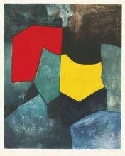 Serge POLIAKOFF - Estampe-Multiple - Composition rouge, verte, jaune et bleue XVI