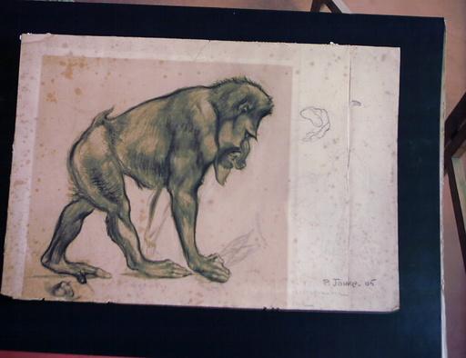Paul JOUVE - Dessin-Aquarelle - etude de babouin