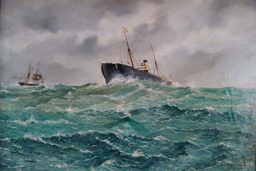 Ludwig JACOBY - 绘画 - Navire marchand en pleine mer