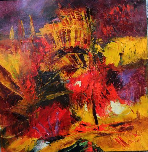 Josette DUBOST - Pittura - L'arbre Rouge
