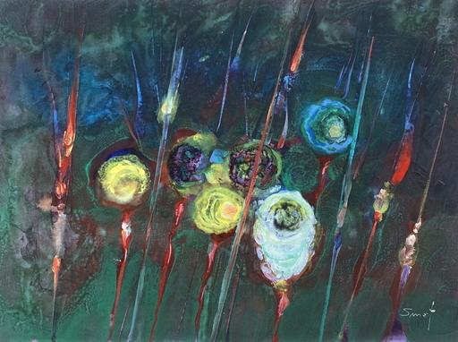 René SMET - Zeichnung Aquarell - Fleurs de saturne