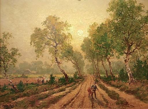 Carl August H. OESTERLEY - Gemälde - Birkenallee auf dem Land