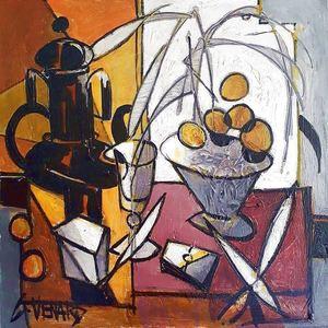 Claude VENARD - Painting - Composition au Domino