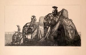 Paul JOUVE - Grabado - Eléphant à Hué
