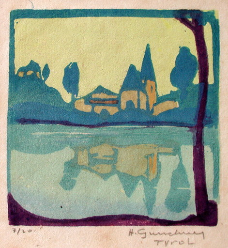 Herbert GURSCHNER - Grabado - Dorf am Wasser