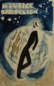 Charles KIFFER - Dibujo Acuarela - MAURICE CHEVALIER AU CASINO DE PARIS