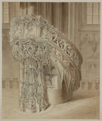 """Georg Christian WILDER - Dibujo Acuarela -  """"In St.Stephan's Cathedral, Vienna"""", 1820s, Drawing"""